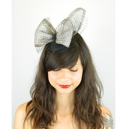 Fascinator Headpiece With Silver Large Statement Bow And Black Veil