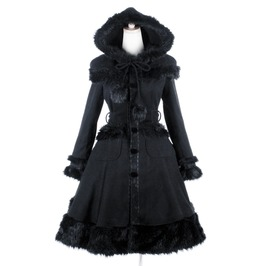 Women's Lolita Hooded Bowknot Overcoat Black Ly 045