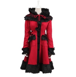 Punk Rave Women's Lolita Hooded Bowknot Overcoat Red Ly 045