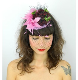 Fascinator Headpiece With Feathers, Raspberries, Grasshoppers And Veil
