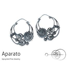 Steampunk Gear Silver Earring