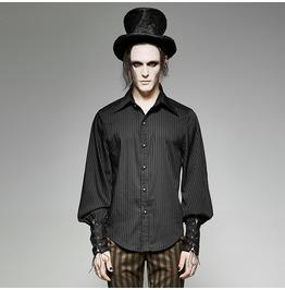 Punk Rave Men's Steampunk Pin Striped Casual Shirt Black/Blue Y 719