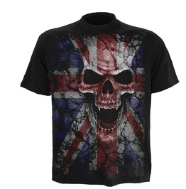 Men,S Black Heavy Metal Skull Uk Flag T Shirt