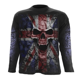 Men,S Black Heavy Metal Skull Uk Flag Long Graphic Tee