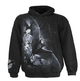 Men,S Black Heavy Metal Punk Skulls Bats Hoody