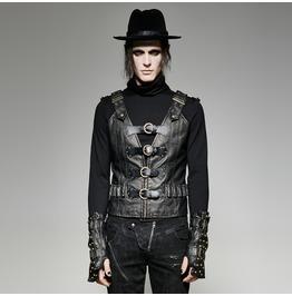Punk Rave Men's Punk Buckle Up Faux Leather Waistcoat Y 724