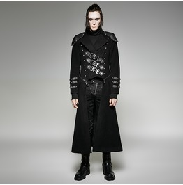 Punk Rave Men's Gothic Military Double Zipper Rivets Overcoat Y 708