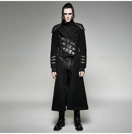Punk Rave Men's Gothic Military Double Zipper Rivets Overcoat Y 708