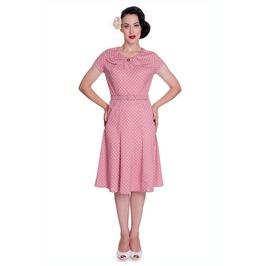 Brand New Retro Vintage 1940s Inspired Pink Polka Dot Tea Dress