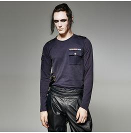 Punk Rave Men's Vintage Straps Long Sleeved Shirt With Pocket T 440