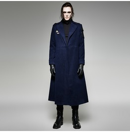 Punk Rave Men's Gothic Military Uniform Style Overcoat Navy Y 697