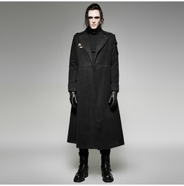 Punk Rave Men's Gothic Military Uniform Style Overcoat Black Y 697