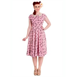 Brand New Pretty Vintage 40s/50s Style Pink Penny Farthing Tea Dress
