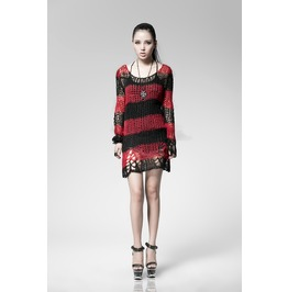 Punk Rave Women's Striped Ripped Casual Sweater Red Pm 004