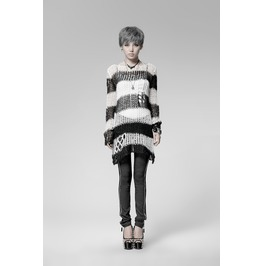 Punk Rave Women's Striped Ripped Casual Sweater Black Pm 004