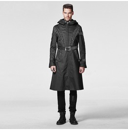 Punk Rave Men's Gothic Military Style Hooded Buckle Up Overcoat Y 606