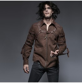 Punk Rave Men's Steampunk Straps Zipper Casual Shirt Coffee Y 644