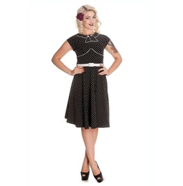 Brand New Retro Vintage Style Black Collared Polka Dot Swing Dress