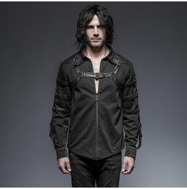 Punk Rave Men's Steampunk Straps Zipper Casual Shirt Black Y 644