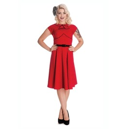 Brand New Retro Vintage Style Red Collared Polka Dot Swing Dress
