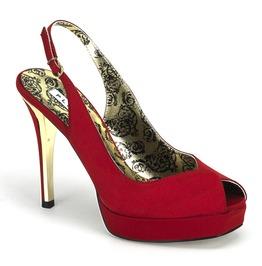 Bordello Peony03 Red Satin Slingback Platform Sandal
