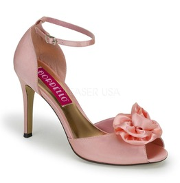Bordello Rosa02 Satin Peep Toe Ankle Strap Sandal