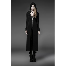 Punk Rave Women's Punk Hooded Zipper Knitted Long Cardigan Py 046