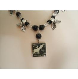Bat Necklace, Goth Gothic Rockabilly Fantasy Halloween Vampire Occult