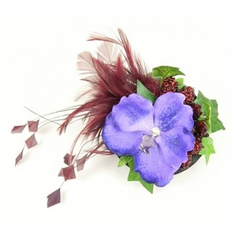 Fascinator Headpiece Feathered With Purple Blue Orchid And Raspberries