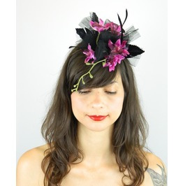 Fascinator Headpiece Feathered Pink Orchid Flower Cascading With Black Veil