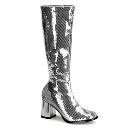 Bordello Spectacul300 Sq Block Heel Sequins Knee Boot