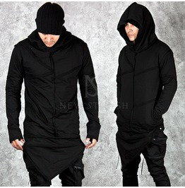 Multiple Distressed Incision Accent Asymmetric Black Hoodie 100