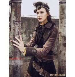 Brown Steampunk Vintage Short Jacket For Women
