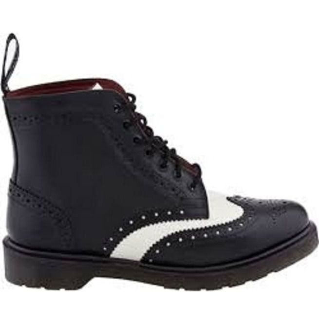 034d6980478 New Men Black And White Wingtip Ankle Boot, Real Leather Ankle Boots