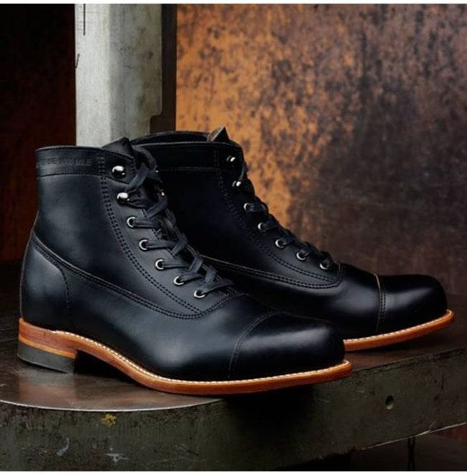 Handmade Men Black Real Leather Ankle Boot, Mens Leather Boot, Boots