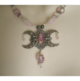 Pink Opal Triple Moon Necklace, Wiccan Pagan Goddess Witchcraft Witch