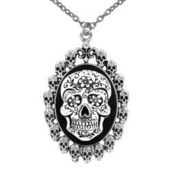 Sugar Skull Cameo Necklace With Skull Frame