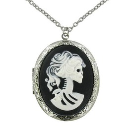 White Zombie Bride Cameo Locket Necklace