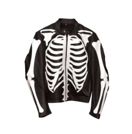 White On Black Leather Skeleton Jacket