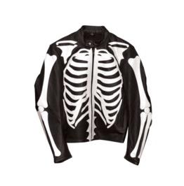White On Black Leather Skeleton Jacket