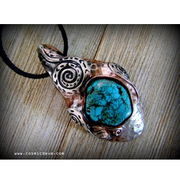 Turquoise Stone Tribal Snake Swirl Silver Color Necklace P 535