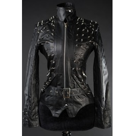 Ladies Black Vegan Faux Leather Goth Studded Spike Jacket $9 Cheap Shipping