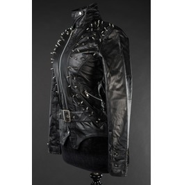 Ladies Black Real Leather Goth Studded Spiked Punk Jacket $6 Cheap Shipping