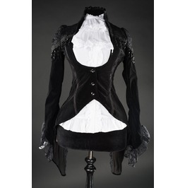 Ladies Black Velvet Lace Victorian Gothic Tailcoat Jacket $6 Cheap Shipping