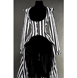 Ladies Black White Striped Victorian Gothic Tail Coat Jacket