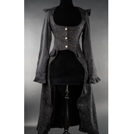 Ladies Black Brocade Victorian Gothic Over Coat Jacket $9 Cheap Shipping