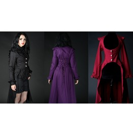 Ladies Red Black Purple Black Victorian Gothic Long Over Coat $6 To Ship