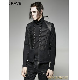 Black Gothic Military Uniform Vest For Men