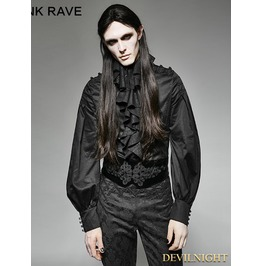 Black Gothic Palace Style Ruffles Men's Shirt