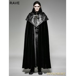 Black Gothic Hoodie Cape Long Coat For Men
